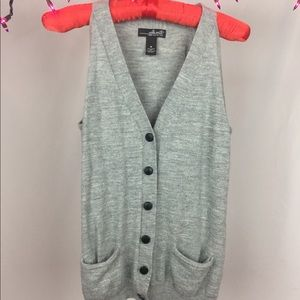 Vintage Grey Sleeveless Cardigan